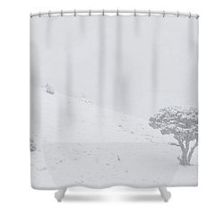 Yellowstone Park Wyoming Winter Snow Shower Curtain by Mark Duffy