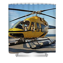 A Bell 407 Utility Helicopter Shower Curtain by Terry Moore