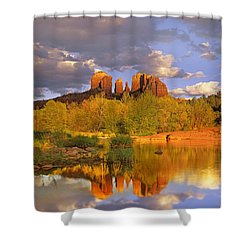 Cathedral Rock Reflected In Oak Creek Shower Curtain by Tim Fitzharris