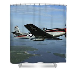 North American P-51 Cavalier Mustang Shower Curtain by Daniel Karlsson