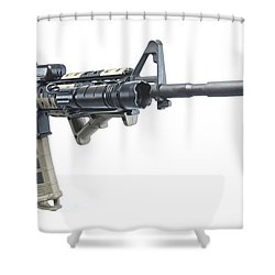 Rock River Arms Ar-15 Rifle Equipped Shower Curtain by Terry Moore