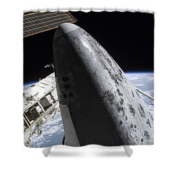 Space Shuttle Discovery Docked Shower Curtain by Stocktrek Images