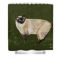 Sweetest Siamese Shower Curtain by Leslie Allen
