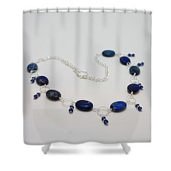 3589 Blue Sea Sediment Jasper Necklace Shower Curtain by Teresa Mucha
