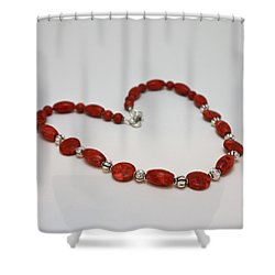 3612 Red Coral Necklace Shower Curtain by Teresa Mucha