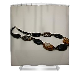 3617 Crackle Agate And Onyx Necklace Shower Curtain by Teresa Mucha