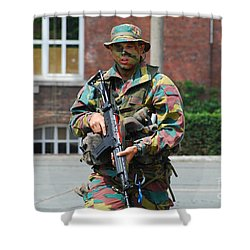 A Paratrooper Of The Belgian Army Shower Curtain by Luc De Jaeger