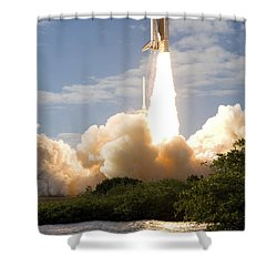 Space Shuttle Atlantis Lifts Shower Curtain by Stocktrek Images