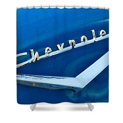 57 Chevy Bel Air Emblem Shower Curtain by Mark Dodd