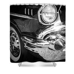 57 Chevy Black Shower Curtain by Steve McKinzie