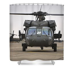 A Uh-60 Black Hawk Taxis Shower Curtain by Terry Moore