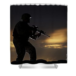 Partially Silhouetted U.s. Marine Shower Curtain by Terry Moore