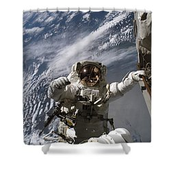 Astronaut Participates Shower Curtain by Stocktrek Images