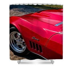 69 Red Detail Shower Curtain by Douglas Pittman