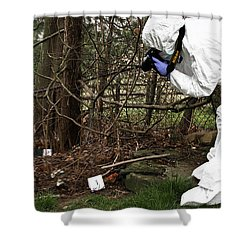 Criminal Investigation Shower Curtain by Photo Researchers, Inc.