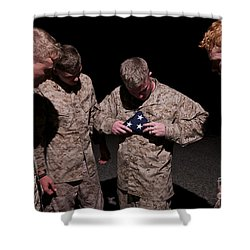 U.s. Marines Fold The American Flag Shower Curtain by Terry Moore