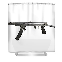 A 7.62mm Type 54 Machine Gun, A Variant Shower Curtain by Andrew Chittock