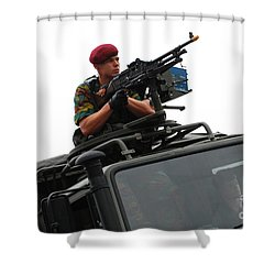 A Belgian Paratrooper Manning A Fn Mag Shower Curtain by Luc De Jaeger