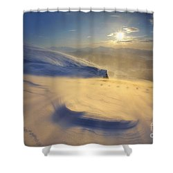 A Blizzard On Toviktinden Mountain Shower Curtain by Arild Heitmann