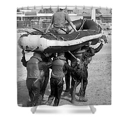 A Buds 1st Phase Boat Crew Carry An Shower Curtain by Michael Wood