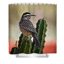 A Cactus Wren  Shower Curtain by Saija  Lehtonen