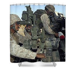 A Cannoneer Looks Through The Sights Shower Curtain by Stocktrek Images