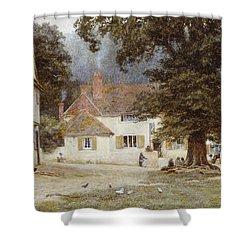 A Cart By A Village Inn Shower Curtain by Helen Allingham