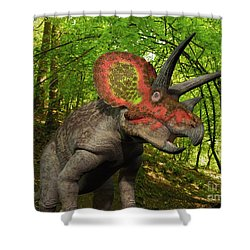 A Colorful Triceratops Wanders Shower Curtain by Walter Myers