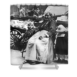 A Family And Their Push Cart Shower Curtain by Underwood Archives