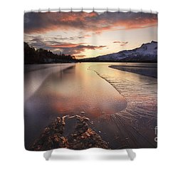 A Frozen Straumen Lake On Tjeldoya Shower Curtain by Arild Heitmann