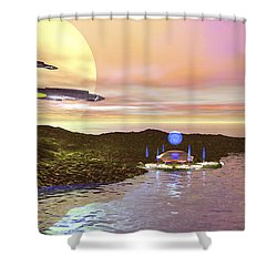 A Futuristic World On Another Planet Shower Curtain by Corey Ford