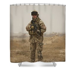 A German Army Soldier Armed With A M4 Shower Curtain by Terry Moore