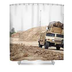 A Humvee Conducts Security Shower Curtain by Stocktrek Images