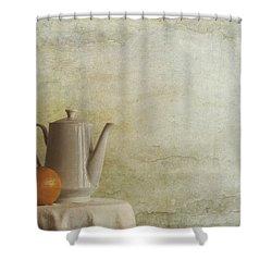 A Jugful Tea And A Orange Shower Curtain by Priska Wettstein