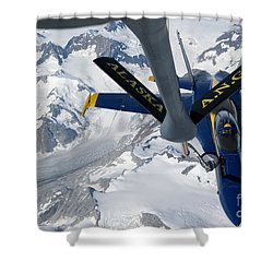 A Kc-135 Stratotanker Refuels An Fa-18 Shower Curtain by Stocktrek Images