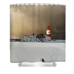 A Lighthouse And Building In Winter Shower Curtain by John Short