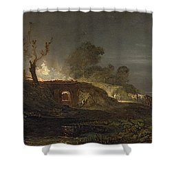A Lime Kiln At Coalbrookdale Shower Curtain by Joseph Mallord William Turner