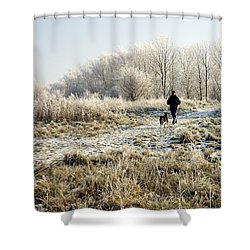 A Man And His Dog Shower Curtain by John Chatterley