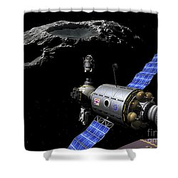 A Manned Maneuvering Vehicle Undocks Shower Curtain by Walter Myers