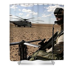 A Marine Assembles A Radio Antenna Shower Curtain by Stocktrek Images