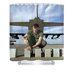 A Marine Replaces Flares In Flare Shower Curtain by Stocktrek Images
