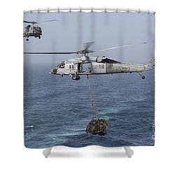 A Mh-60s Knighthawk Transfers Cargo Shower Curtain by Gert Kromhout
