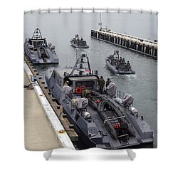 A Mk-v Special Operations Craft Tied Shower Curtain by Michael Wood