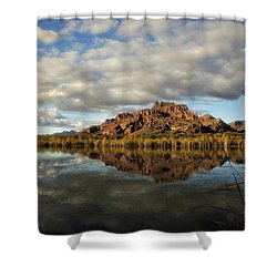 A Morning At Red Mountain Shower Curtain by Saija  Lehtonen