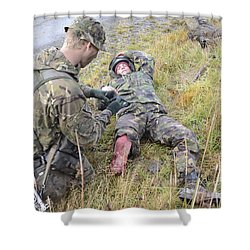 A Patrol Medic Applies First Aid Shower Curtain by Andrew Chittock