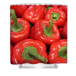 A Peck Of Red Peppers Shower Curtain by Kathy Clark