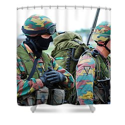 A Radio Operator And Members Shower Curtain by Luc De Jaeger