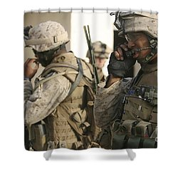 A Radio Operator Helps A Platoon Shower Curtain by Stocktrek Images