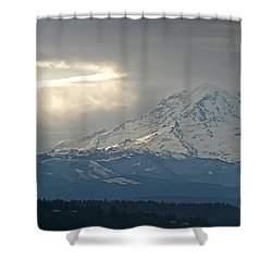 A Ring Of Bright Light Beside Mount Rainier Shower Curtain by Sean Griffin