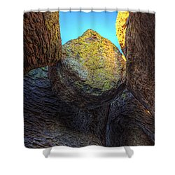 A Rock Balanced Precariously Shower Curtain by Robert Postma